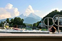 Whirlpool with Watzmann in the background, Hotel Edelweiss, Berchtesgaden, Berchtesgadener Land, Upper Bavaria, Bavaria, Germany