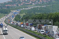 Traffic jam on the A8 highway as a result of a truck accident, view towards Albaufstieg, Aichelberg near Gruibingen, Baden-Wuerttemberg, Germany, Euro...