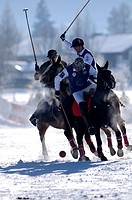 Polo players fighting for the ball, Team Nespresso against Team fawn catering, Snow Arena Polo World Cup 2010 polo tournament, Kitzbuehel, Tyrol, Aust...