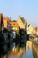 Residential houses at a canal, Bruges, Flanders, Belgium, Europe