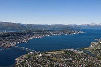 View from Storsteinen Mountain Gondola, Tromso, Troms, Norway, Europe