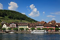View at excursion boat and lake_side town, Stein am Rhein, High Rhine, Lake Constance, Canton Schaffhausen, Switzerland, Europe
