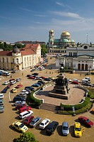 High angle view at Narodno Sabranie Square and Saint Alexander Nevski Cathedral, Sofia, Bulgaria, Europe