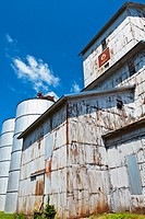 Old rusty grain elevator in rural Iowa