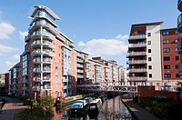 Apartment complex over the canal at King Edward's Wharf in Birmingham, UK