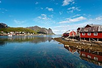 Traditional Rorbu fisherman`s hut, Reine village, Moskenesoya, Lofoten Islands, North Norway, Norway