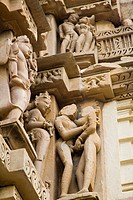Erotic sculpture of loving couple of Chitragupta temple at Khajuraho , Madhya Pradesh , India