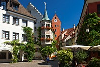 Market square and Obertor gate tower in Meersburg, Lake Constance, Baden-Wuerttemberg, Germany, Europe
