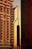 Modern high rise buildings in the evening light, Dubai, UAE, United Arab Emirates, Middle East, Asia