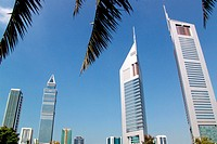 Emirates Towers in the sunlight, Dubai, UAE, United Arab Emirates, Middle East, Asia