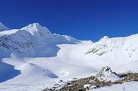 View towards the Vogelmaier Ochsenkar Kees glacier at Hoher Sonnblick, Hoher Sonnblick, Rauriser Tal valley, Goldberggruppe mountain range, Hohe Tauer...