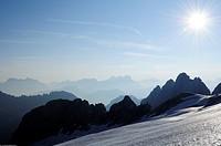Marmolada glacier in front of the Dolomites, Marmolada, Dolomites, UNESCO World Heritage Site Dolomites, Trentino, Italy