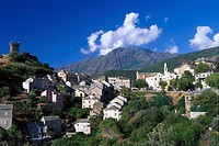 Village, watchtower, Nonza, Cap Corse, Corsica, France