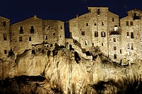 Village of Pitigliano at night, Tuscany, Italy, Europe