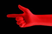 Red pointing finger