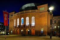 Staatstheater, Mainz State Theatre, at dusk, Mainz, Rhine-Hesse region, Rhineland-Palatinate, Germany, Europe