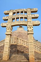 Stupa 3 wall encircling and stapes to go_up with gateway in front situated northeast of main stupa 1 , Sanchi , Bhopal , Madhya Pradesh , India