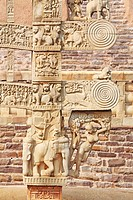 Details of north pillar of eastern gateway with two pales showing stories of Buddha stupa No 1 , Sanchi near Bhopal , Madhya Pradesh , India