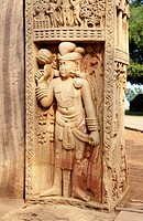 Showing stories of Buddha on lower panel of north pillar front side of eastern gateway of stupa 1 , Sanchi near Bhopal , Madhya Pradesh , India