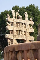North gateway of stupa 1 , Sanchi near Bhopal , Madhya Pradesh , India