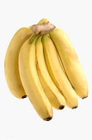 Fruits , One yellow Banana bunch five pieces on white background