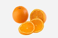 Fruits , One full Orange with three Slices on white background