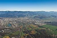 Aerial view of Freiburg im Breisgau, Baden-Wuerttemberg, Germany, Europe