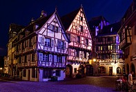 Heritage houses of Colmar at night, Alsace, France, Europe