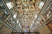 Ceiling paintings in the Sistine Chapel, Vatican, Rome, Italy