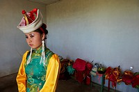 Mongolia, Arkhangai province, Bayartsetseg, 18, take part at the Naadam festival