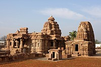 Mallikarjuna Temple on right Kashivishvanatha Temple, Pattadakal , UNESCO World Heritage site, Chalukya , District Bagalkot , Deccan plateau, Karnatak...