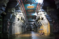 Temple corridor of Sri Ramanathaswamy temple one of the twelve Jyotir Lingas , Rameswaram small island in Gulf of Mannar , Tamil Nadu , India