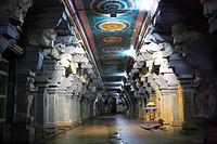 Temple corridor of Sri Ramanathaswamy temple one of the twelve Jyotir Lingas , Rameswaram small island in Gulf of Mannar , Tamil Nadu , India
