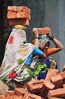 Indian construction workers carry heavy brick
