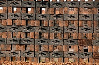Wet bricks kept for drying in brick factory , Sangli , Maharashtra , India