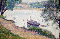 Detail: Gray Weather, Grande Jatte, ca  1886-88, by Georges Seurat French, Paris 1859-1891 Paris, Oil on canvas 27 3/4 x 34 in  70 5 x 86 4 cm, Metrop...