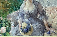 Detail: Young Woman Seated on a Sofa, ca  1879, by Berthe Morisot French, 1841-1895, Oil on canvas, 31 3/4 x 39 1/4 in  80 6 x 99 7 cm, Signed lower l...