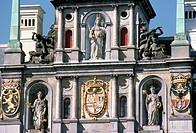 Belgium, Antwerpen, City Hall, architecture detail.