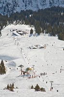Skiing area on Mt Fellhorn, winter, snow, Oberstdorf, Allgaeu Alps, Allgaeu, Bavaria, Germany, Europe