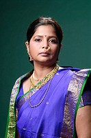 Portrait of South Asian Indian woman wearing jewellery MR 719A