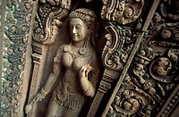 A stone figure in the Banteay Srei temple in the ruins city of Angkor in Cambodia in southeast Asia.