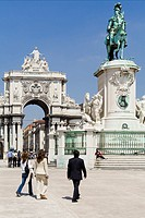 Commerce square in Lisbon, Portugal, with the famous Triumphal Arch and King D  Jos&#233; I statue