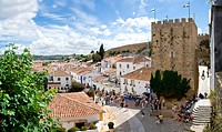 Rooftop view of Obidos from the castle fortifications during the Medieval Market event