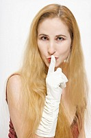 An American woman with long blonde hair wearing long gloves