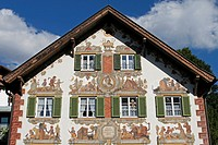 Germany Bavaria Oberammergau Painted building facade with windows and shutters luftmaileri decorated Hansl and Gretl Heim Hansel and Gretel House