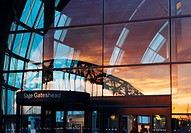 The Sage Gateshead, Tyne and Wear, England  Newcastle's Tyne bridge reflected in Glass
