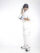 Indian batsman ready for playing shot in cricket match MR702A