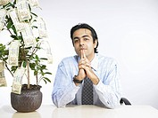 South Asian Indian executive sitting on chair and thinking money plant on desk MR702A