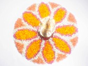 Onam Kerala festival , diya with flower design