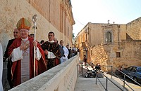 Cardinal Italien Ennio Antonelli, Church of Saint Peter and Saint Paul, Gozo celebrates religious festivals called Festas, village of Nadur celebrates...